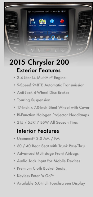 new 2015 chrysler 200 model information autonation chrysler jeep broadway. Black Bedroom Furniture Sets. Home Design Ideas
