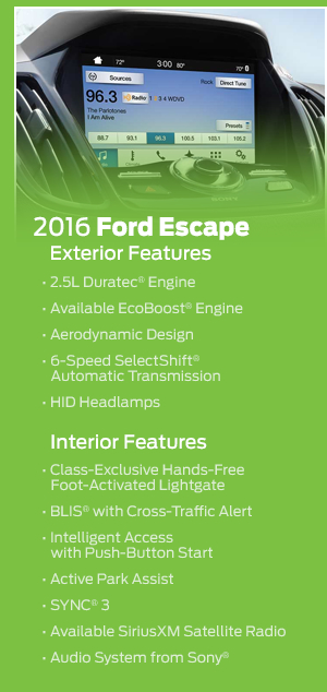 2016 Ford Escape Model Features