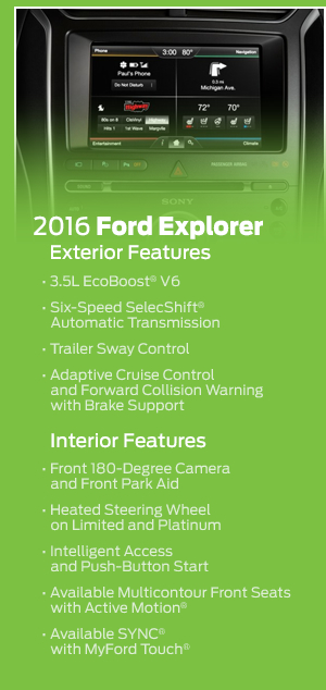 2016 Ford Explorer Model Features