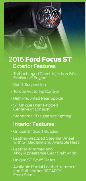 2016 Ford Focus ST Model Features