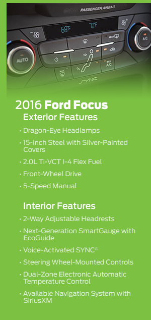 2016 Ford Focus Model Features