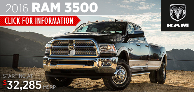 Click to research the new 2016 RAM 3500 model in Tacoma, WA