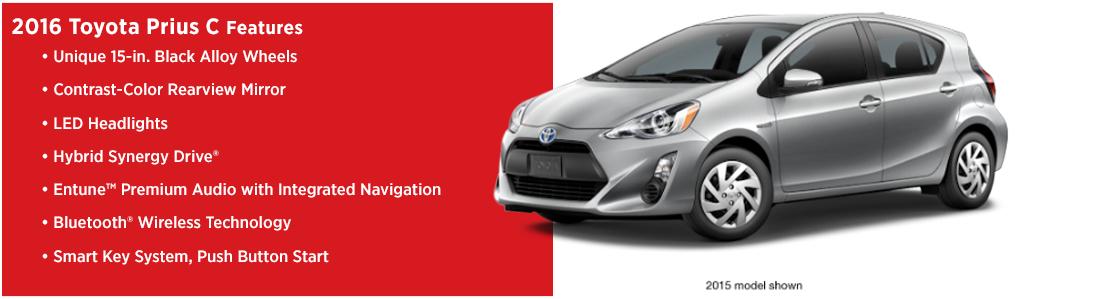 New 2016 Toyota Prius c Model Features