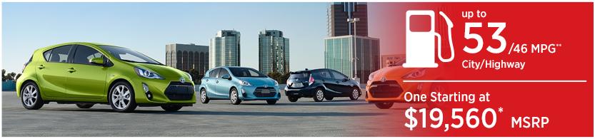 New 2016 Toyota Prius c Model Mileage & MSRP