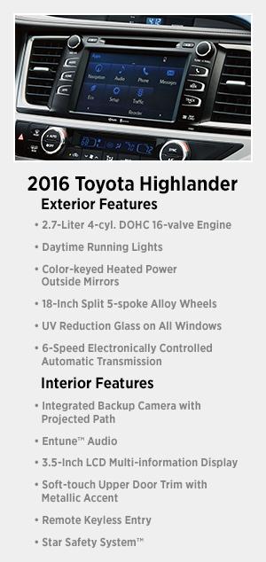 2016 Toyota Venza >> 2016 Toyota Highlander Information & Features